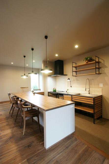 木製キッチン カウンターテーブル